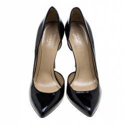 Gucci Black Patent Leather Noah Pointed Toe D'Orsay Pumps Size 39