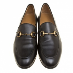 Gucci Black Leather Jordaan Horsebit Loafers Size 38.5