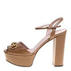 1690d80e5e8d Gucci Light Brown Leather Claudie Horsebit Peep Toe Platform Sandals Size 39