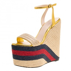 d28ffeeb1f81 Gucci Metallic Gold Leather Web Platform Ankle Strap Espadrille Wedge  Sandals Size 37