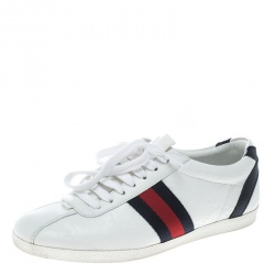 c6b5814f426 Gucci White Guccissima Leather Web Detail Low Top Sneakers Size 35.5