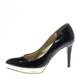 d9118ea3c67e Gucci Black Patent Leather Pointed Toe Platform Pumps Size 37