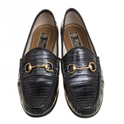 Gucci Black Lizard Leather Horsebit Loafers Size 39