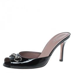 27949feae64 Gucci Black Patent Leather Peep Toe Horsebit Slides Size 38