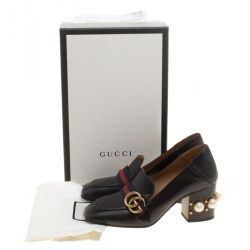 Gucci Black Leather Faux Pearl Embellished Collapsible Heel Counter Loafer Pumps Size 37.5
