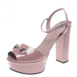 b382c3e1ff0d Gucci Pale Pink Leather Claudie Horsebit Peep Toe Platform Sandals Size 39