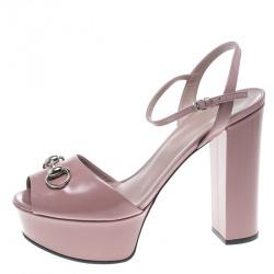 9a922641f42 Gucci Pale Pink Leather Claudie Horsebit Peep Toe Platform Sandals Size 39
