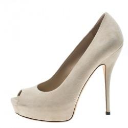ed8284c9b0cc Gucci Beige Suede Sofia Peep Toe Platform Pumps Size 37