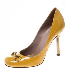 49f6052e906 Gucci Yellow Patent Leather Jolene Horsebit Pumps Size 39