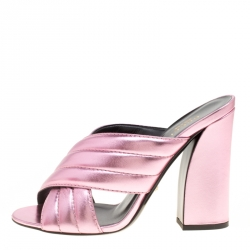 ccd878ea710 Gucci Pink Metallic Leather Sylvia Crossover Mules Size 39