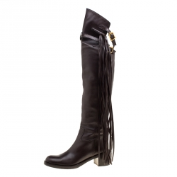 Gucci Brown Leather Fringe Detail Devendra Over The Knee Boots Size 40
