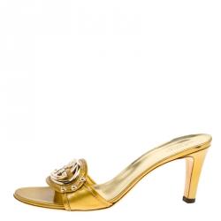 15140fe3b90 Gucci Gold Glitter Patent Leather Britt Open Toe Slides Size 38.5