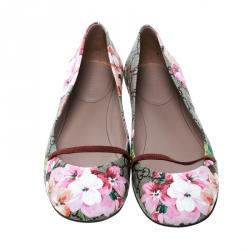 Gucci Fuchsia Blossom Print GG Supreme Canvas Ballet Flats Size 39