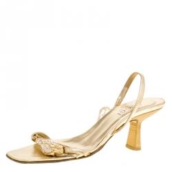 b22a0608ed207d Gucci Metallic Gold Open Toe Slingback Sandals Size 36