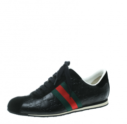 359e8d7ab98 Gucci Black Guccissima Leather And Suede Web Detail Low Top Sneakers Size 38