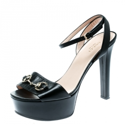 cf5783e61f35 Gucci Black Leather Horsebit Peep Toe Platform Ankle Wrap Sandals Size 38