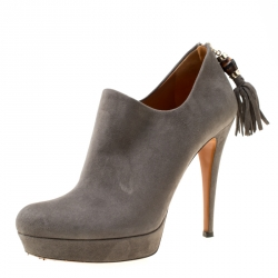 c44ba254698 Gucci Grey Suede Bamboo Tassel Platform booties Size 38.5