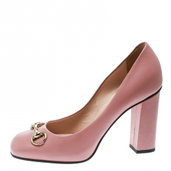695eb291ef75 Gucci Pink Leather Horsebit Block Heel Pumps Size 37.5