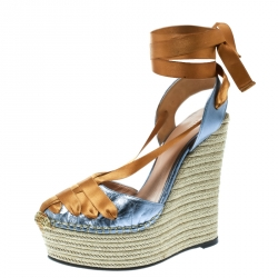 5523a09176a2 Gucci Metallic Blue Dark Yellow Leather and Satin Alexis Wrap Platform  Wedge Sandals Size 36.5