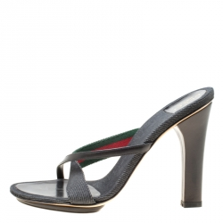 52313cb4296f5 Gucci Black Fabric And Leather Cross Strap Sandals Size 36