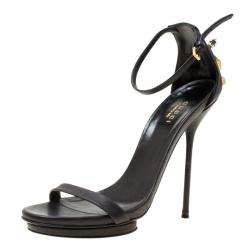 0b1e969d52f Gucci Black Leather Studded Ankle Strap Platform Sandals Size 37