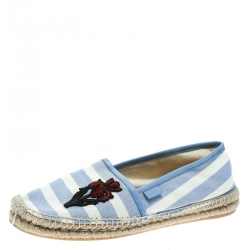 013d8820886 Gucci Blue White Stripped Canvas Embroidered Flat Espadrilles Size 41