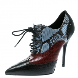 9981c6d16ce61d Gucci Tricolor Brogue Python Gia Pointed Toe Lace Up Ankle Booties Size 37