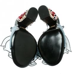 Gucci Blue Sequin Ruffle Trompe L'Oeil Block Heel Mule Sandals Size 38