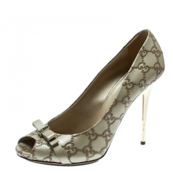 9ba59439a Gucci Beige Guccissima Leather Bow Detail Peep Toe Pumps Size 40