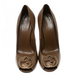 Gucci Brown Leather Studded GG Block Heel Peep Toe Pumps Size 36.5