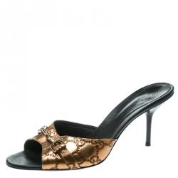 1c4a694375e Buy Gucci Beige GG Crystal Lamè Hollywood Horsebit Slides Size 36 ...