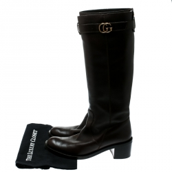 Gucci  Black Leather GG Running Riding Knee Boots Size 40