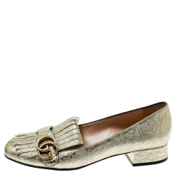 05be39762 Gucci Metallic Gold Foil Leather GG Marmont Fringe Detail Block Heel Pumps Size  38.5