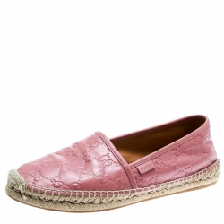 c0f2374b3c3 Gucci Rose Pink Guccissima Leather Espadrilles Size 40