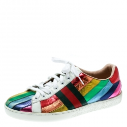 c17a4c5a71d Gucci Multicolor Leather Rainbow Lace Up Sneakers Size 36