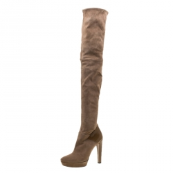 38423fbc2 Gucci Beige Suede And Patent Leather Karen Over the Knee Platform Boots  Size 39.5