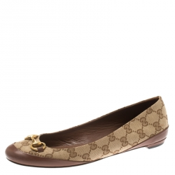 bacc54da031 Gucci Beige GG Canvas And Brown Leather Trim Horsebit Ballet Flats Size 38