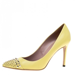1ecd4b8357e Gucci Yellow Studded Leather Malaga Pointed Toe Pumps Size 38.5