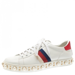 1ef97f13025 Gucci White Leather Python Trim Web Detail New Ace Faux Pearl Embellished  Low Top Sneakers Size