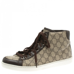 0975b2a6e75 Gucci Beige GG Supreme Canvas And Brown Leather Trim High Top Sneaker Size  43