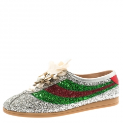 9a170da524d Gucci Multicolor Metallic Glitter And Leather Falacer Crystal Embellished  Bee Sneakers Size 40.5