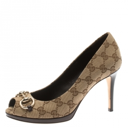 63653dcf7bf Gucci Beige GG Canvas And Leather New Hollywood Horsebit Peep Toe Pumps  Size 36.5