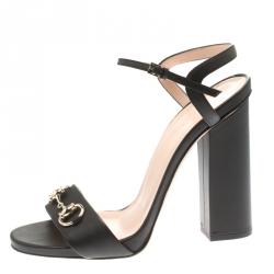 9a1efa755c19 Gucci Black Leather Horsebit Ankle Strap Open Toe Block Heel Sandals Size 40