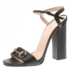 9a1efa755c19 Gucci Black Leather Horsebit Ankle Strap Open Toe Block Heel Sandals Size 40