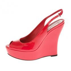 79bb48a58 Gucci Coral Patent  Sofia  Platform Slingback Wedges Sandals Size 37.5