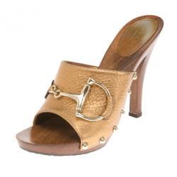 fb125ad205e1cc Gucci Gold Metallic Leather Icon Bit Clogs Size 38