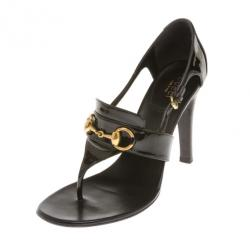 4d514d4cddd1f9 Sold. Gucci Black Patent Horsebit Thong Sandals Size 38