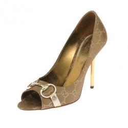 708c6670a2e686 Sold. Gucci Brown Guccissima Horsebit Peep Toe Pumps Size 38