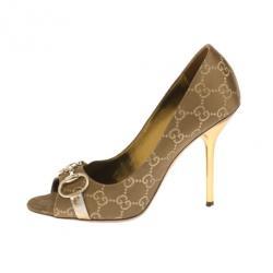 daa069ebaa4115 Gucci Brown Guccissima Horsebit Peep Toe Pumps Size 38