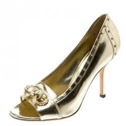 ab0ebc877 Gucci Metallic Gold Leather Horsebit Star Bow Peep Toe Loafer Pumps Size 36